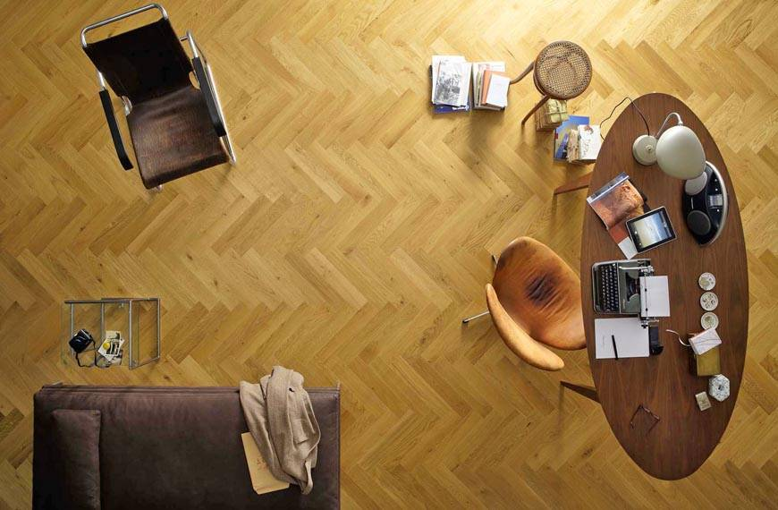 Oak flooring herringbone parquet