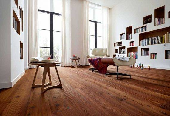 Stained pine floor boards