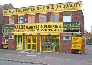 Value Carpets & Flooring Birmingham shop front showroom