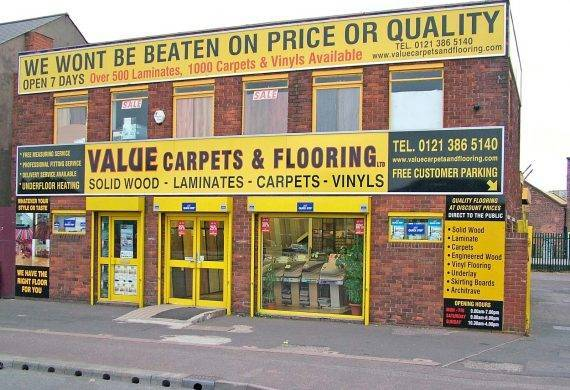 Value Carpets & Flooring Birmingham shop front showroom