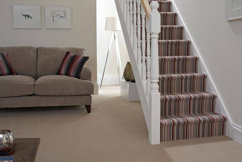 Stripe carpet stairs red and beige