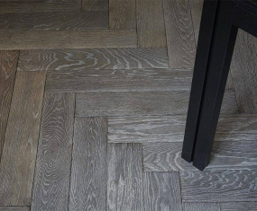 herringbone grey oak real wood flooring