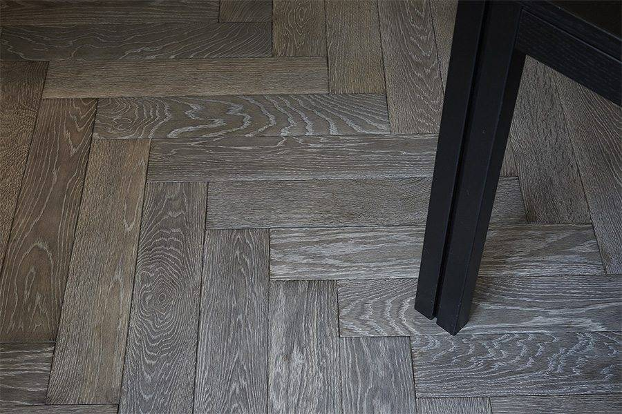 herringbone grey oak real wood flooring