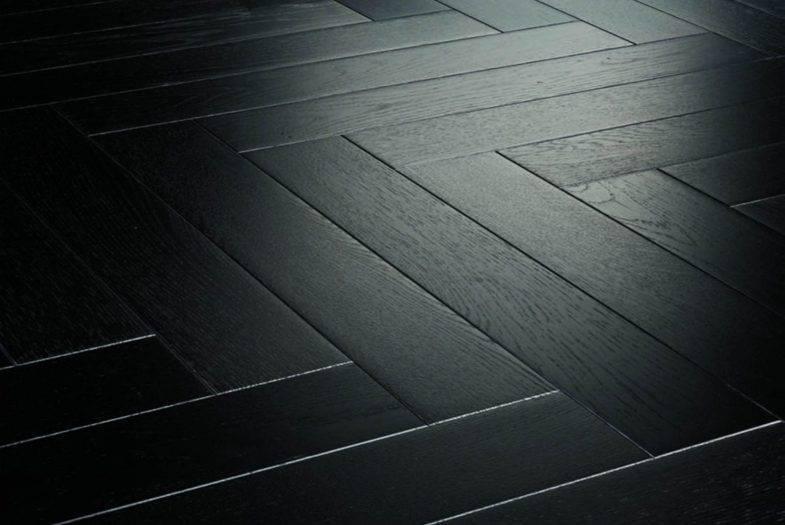 Black Oak herringbone laminate flooring