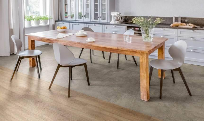 LVT luxury vinyl tiles in dining room