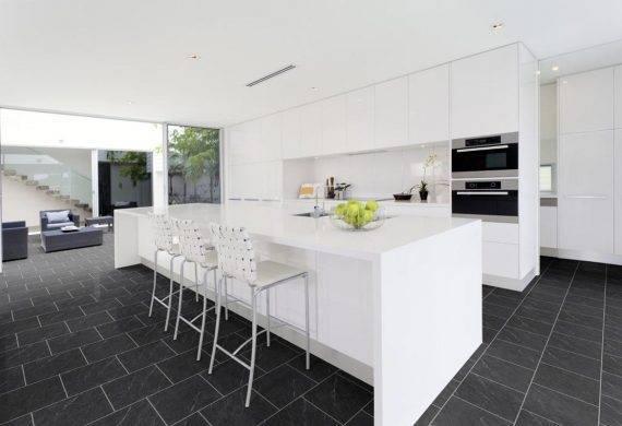 Polished Black Slate LVT flooring tiles