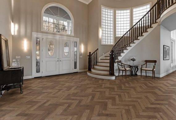 Luvanto Priory Oak Herringbone LVT flooring in hallway