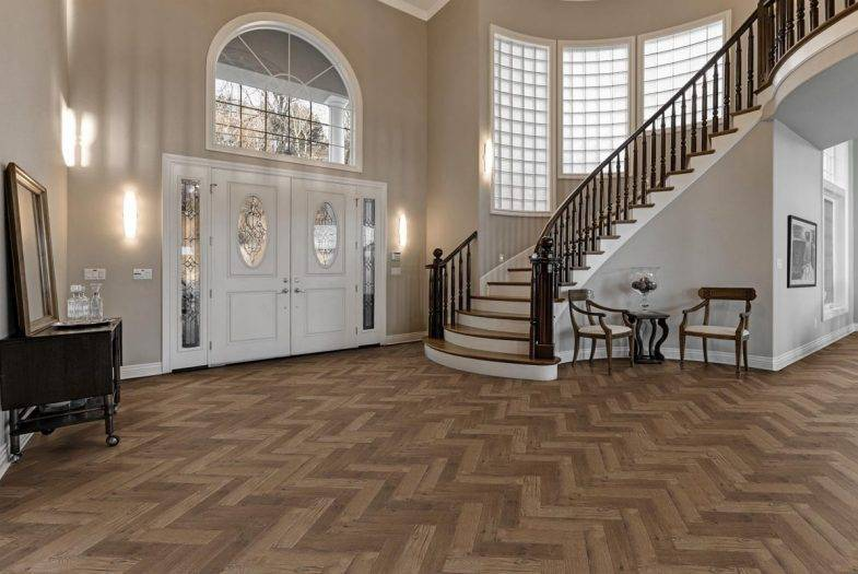 Luvanto Priory Oak Herringbone LVT flooring in hallway
