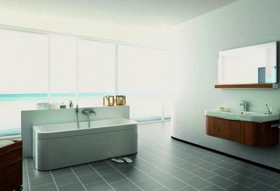Luvanto Grey Sparkle lvt floor tiles with feature strips bathroom