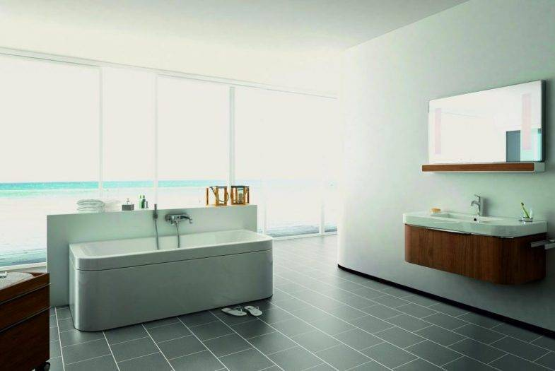 Luvanto Grey Sparkle lvt floor tiles with feature strips bathroom