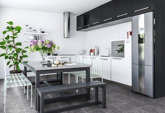 Luvanto Silver Slate LVT vinyl tiles with feature strips in kitchen